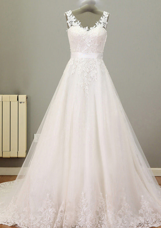 A-Line/Princess V Neck Sleeveless Court Train Tulle Wedding Dress With Appliqued Lace Sashes