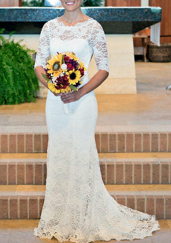 Sheath/Column Scalloped Neck Half Sleeve Sweep Train Lace Wedding Dress