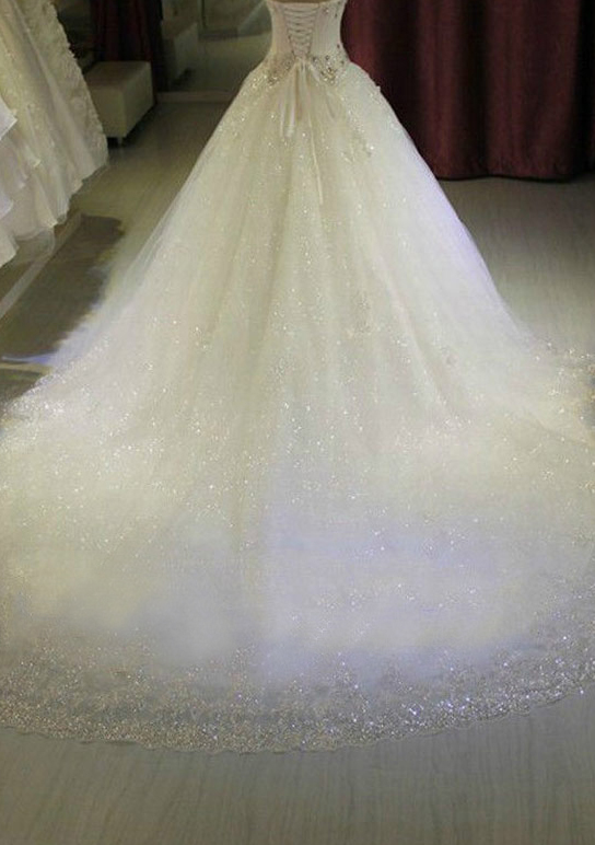 Ball Gown Sweetheart Sleeveless Chapel Train Tulle Wedding Dress With Appliqued Lace Sequins