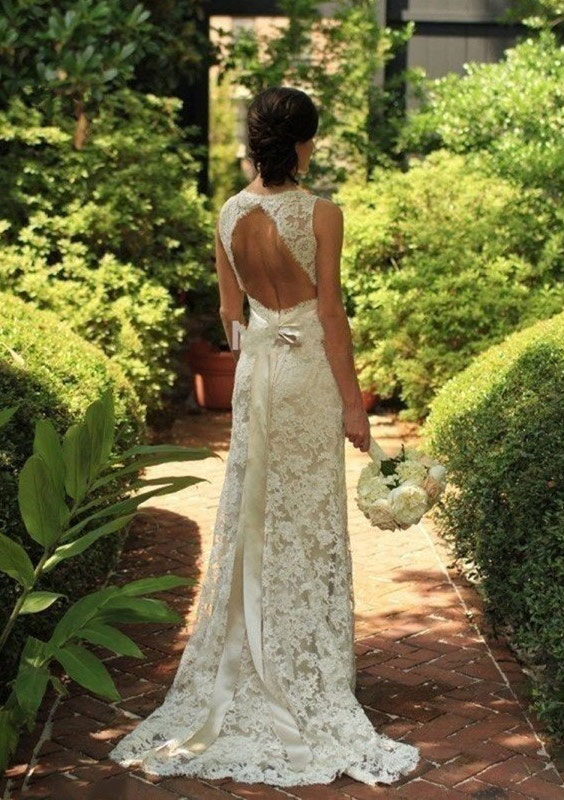Sheath/Column Sweetheart Sleeveless Sweep Train Lace Wedding Dress With Bowknot Sashes