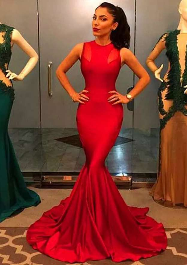 Trumpet/Mermaid Scoop Neck Sleeveless Court Train Charmeuse Evening Dress