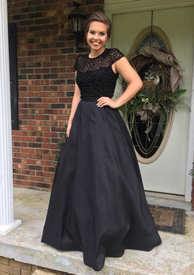 A-Line/Princess Scoop Neck Sleeveless Long/Floor-Length Satin Prom Dress With Lace Beading