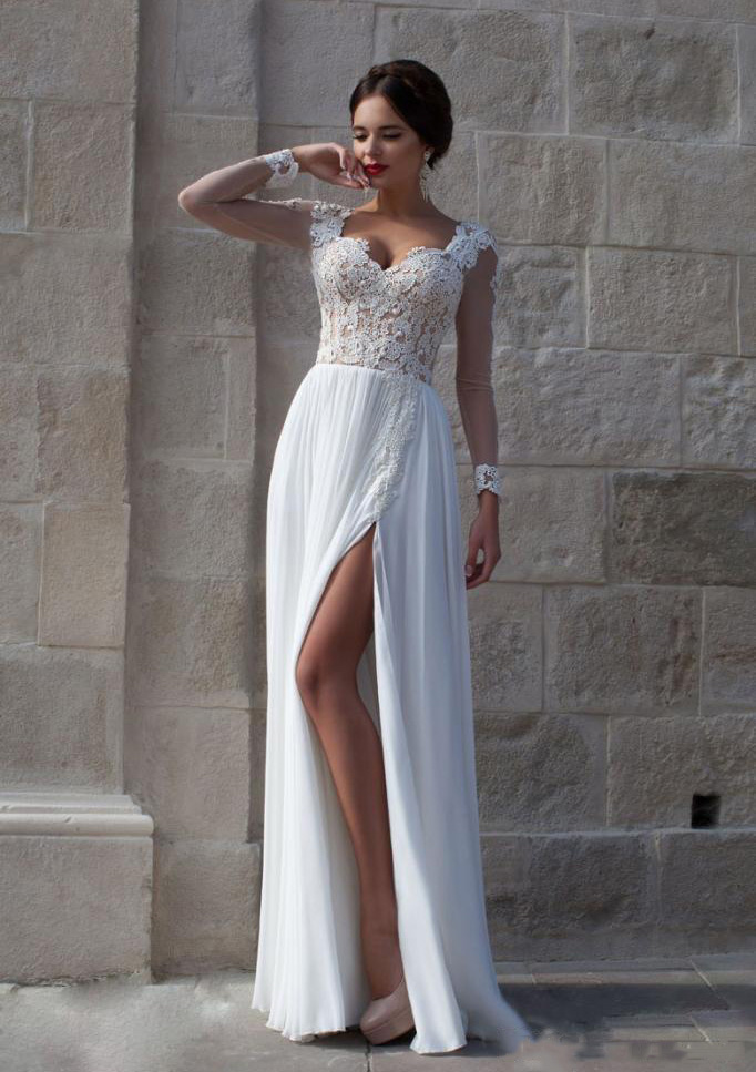 A-Line/Princess Scalloped Neck Full/Long Sleeve Long/Floor-Length Chiffon Wedding Dress With Appliqued Beading Lace Split