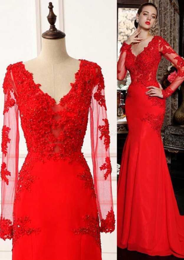 Sheath/Column V Neck Full/Long Sleeve Sweep Train Chiffon Evening Dress With Appliqued Beading