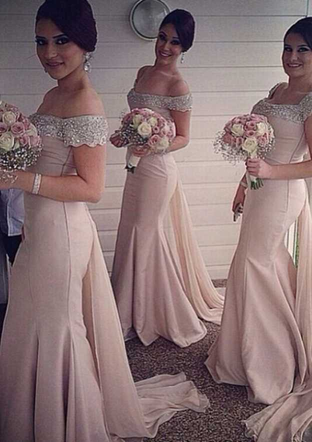 Trumpet/Mermaid Off-The-Shoulder Sleeveless Watteau Train Satin Bridesmaid Dress Beading