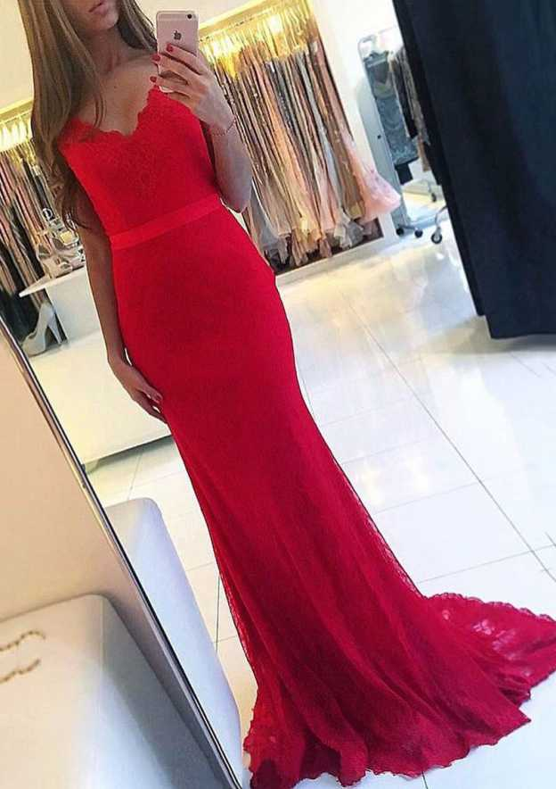 Sheath/Column Scalloped Neck Sleeveless Sweep Train Lace Prom Dress With Sashes