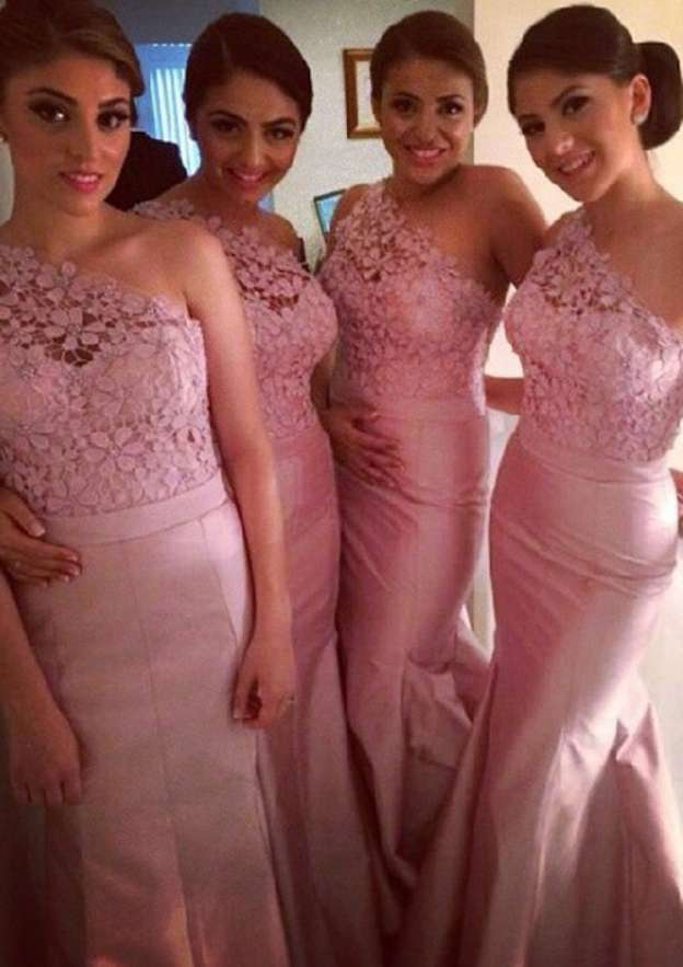 Trumpet/Mermaid One-Shoulder Sleeveless Court Train Charmeuse Bridesmaid Dresses With Sashes Appliqued Beading