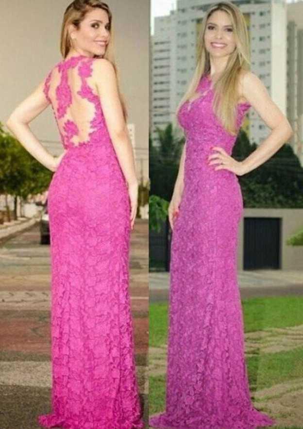 Sheath/Column Scoop Neck Sleeveless Sweep Train Lace Evening Dress