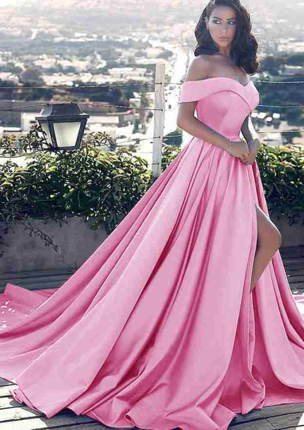 A-Line/Princess Off-The-Shoulder Sleeveless Court Train Satin Prom Dress With Pleated Split