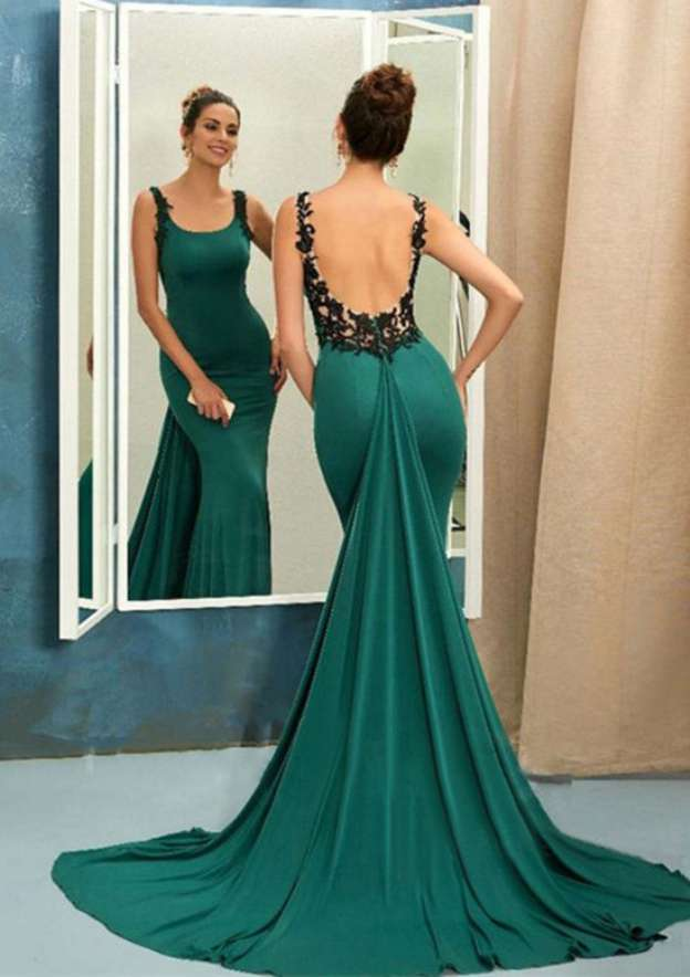 Trumpet/Mermaid Bateau Sleeveless Court Train Charmeuse Prom Dress With Appliqued