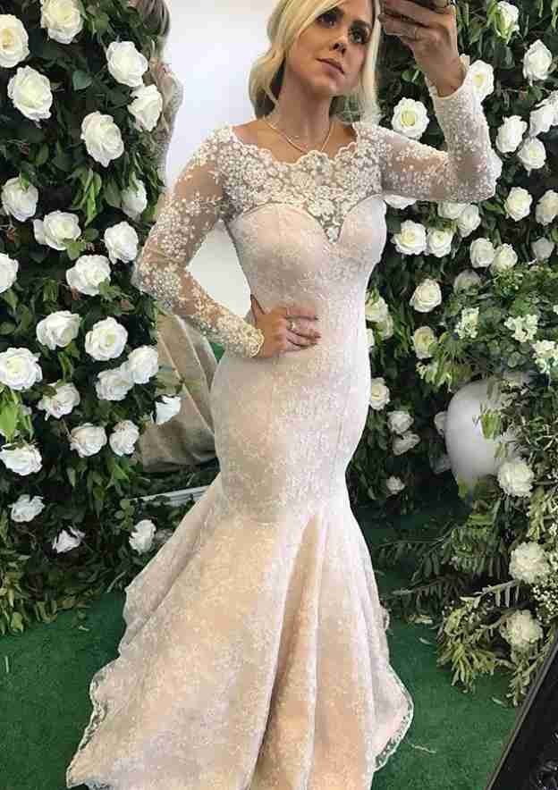 Trumpet/Mermaid Scalloped Neck Full/Long Sleeve Sweep Train Evening Dress With Appliqued