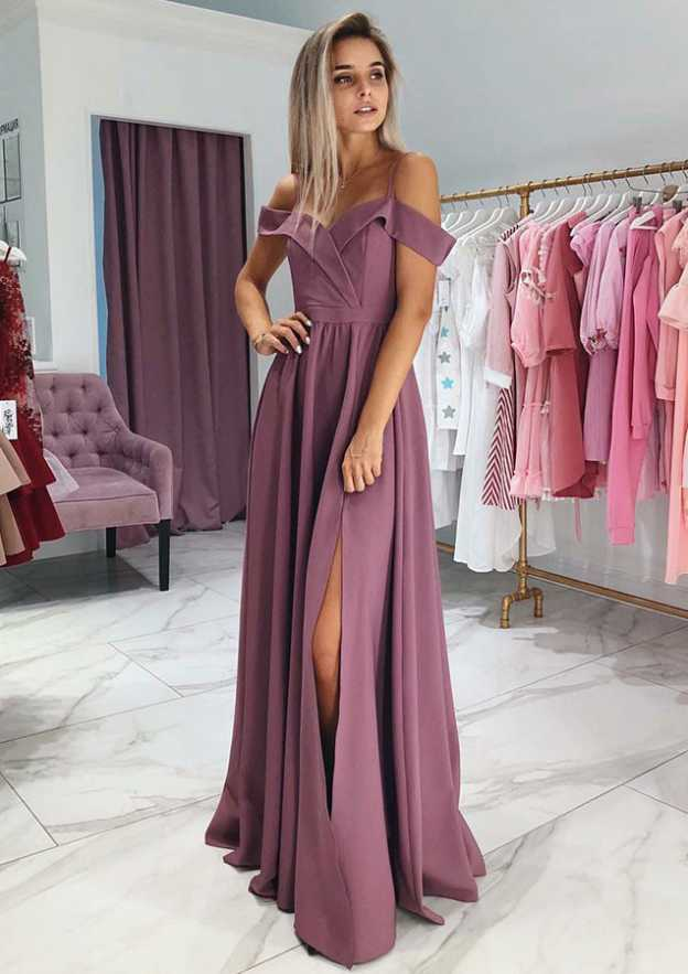 78165dfc1c2 A-line Princess Off-the-Shoulder Sleeveless Long Floor-Length Elastic Satin  Prom Dress With Split
