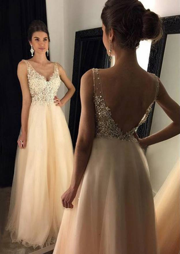 bbeebbd89d3 A-line Princess V Neck Sleeveless Long Floor-Length Tulle Prom Dress With  Beading Appliqued