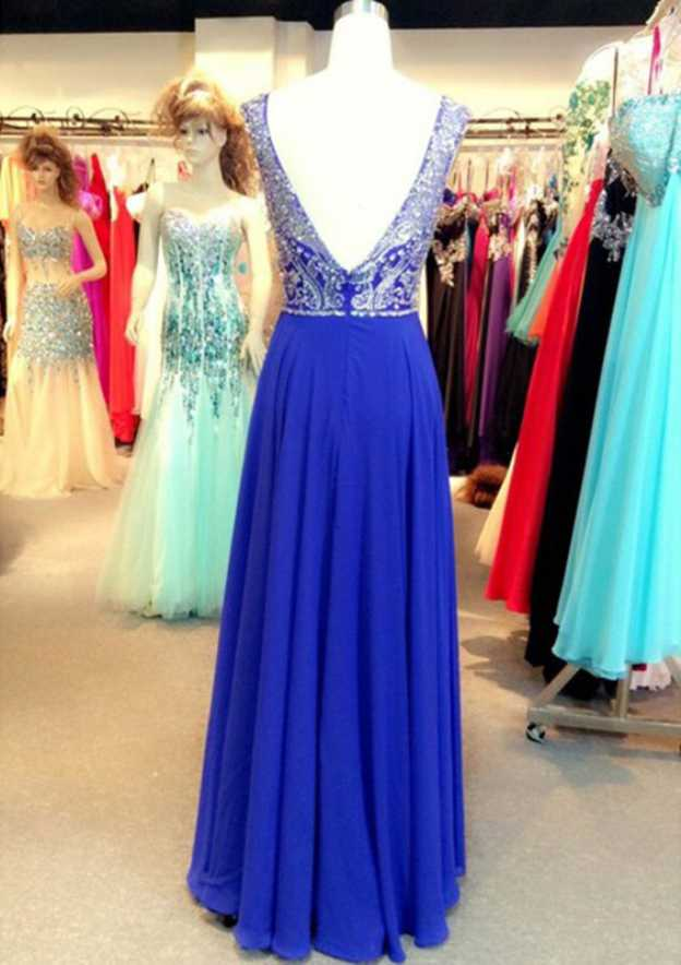 A-Line/Princess Bateau Sleeveless Long/Floor-Length Chiffon Prom Dress With Beading