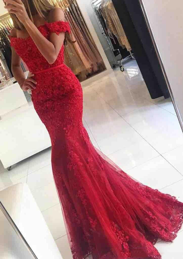 3c548b457dfb Trumpet/Mermaid Off-The-Shoulder Sleeveless Sweep Train Lace Prom ...