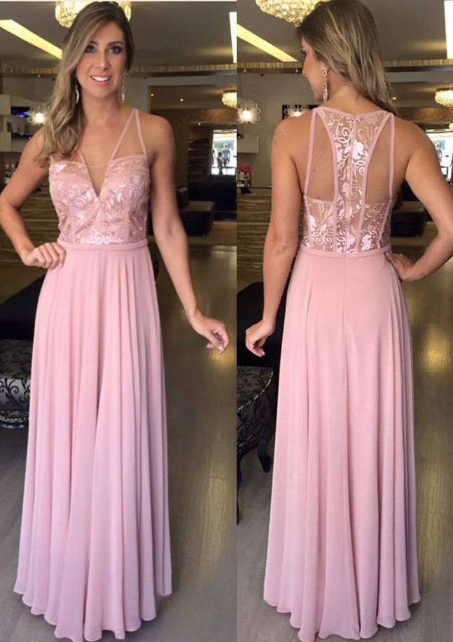 A-Line/Princess V Neck Sleeveless Long/Floor-Length Chiffon Prom Dress With Appliqued