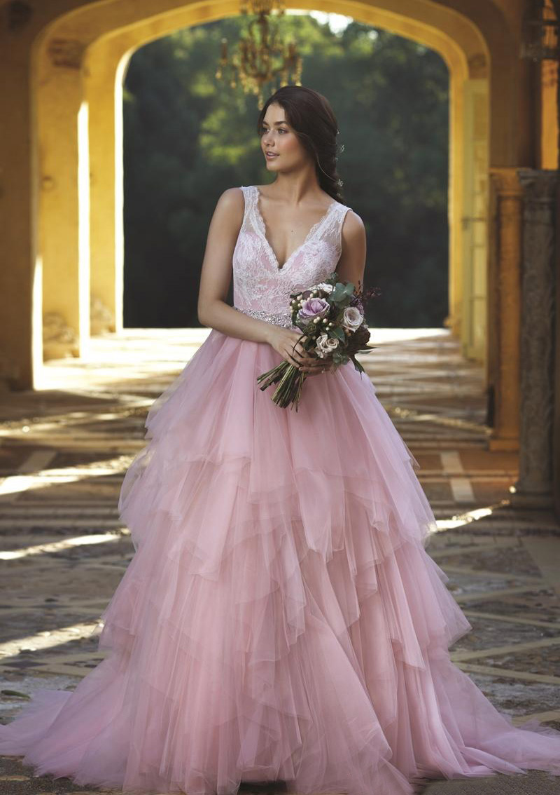 A-Line/Princess V Neck Sleeveless Court Train Tulle Prom Dresses With Lace Beading
