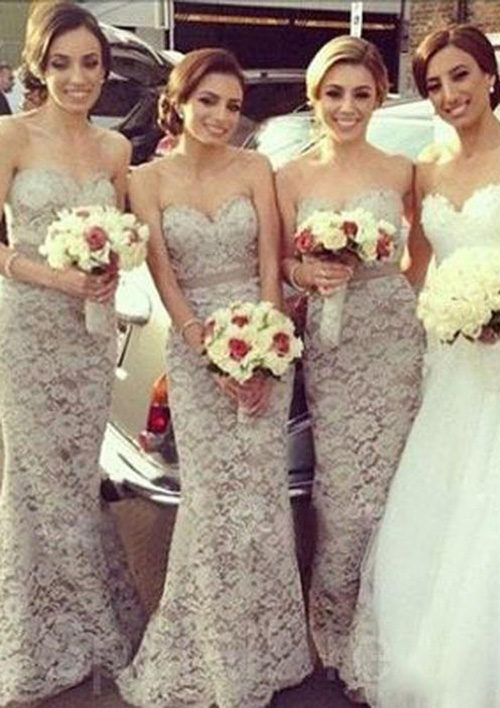 Trumpet/Mermaid Sweetheart Sleeveless Sweep Train Lace Bridesmaid Dresses With Sashes Appliqued
