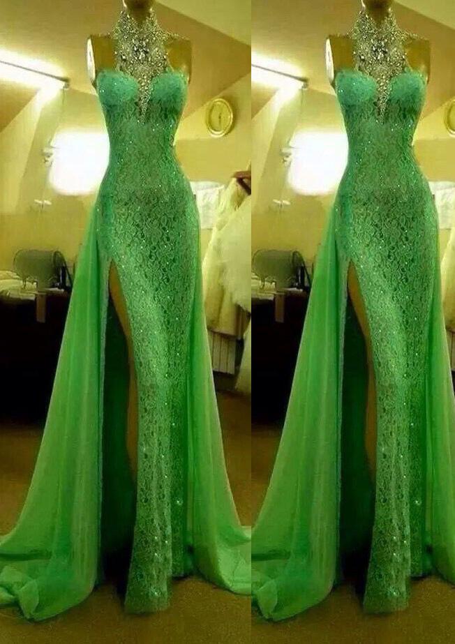 Sheath/Column High-Neck Sleeveless Court Train Lace Evening Dress Split Beading Crystal