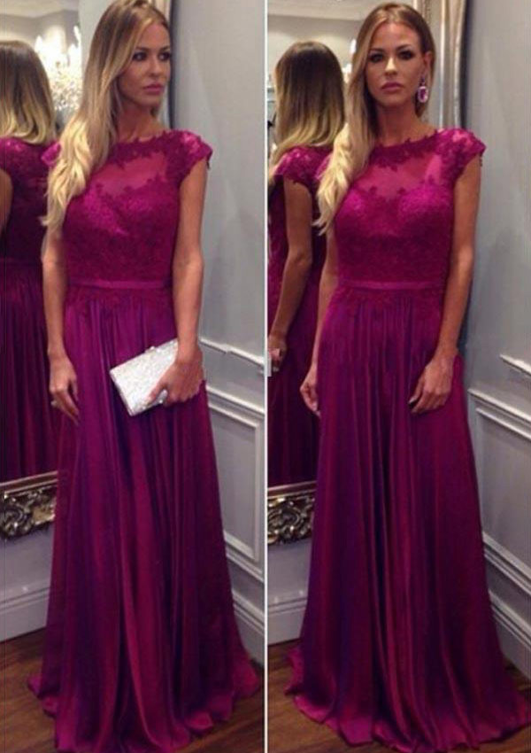 A-Line/Princess Bateau Sleeveless Long/Floor-Length Charmeuse Prom Dress With Appliqued