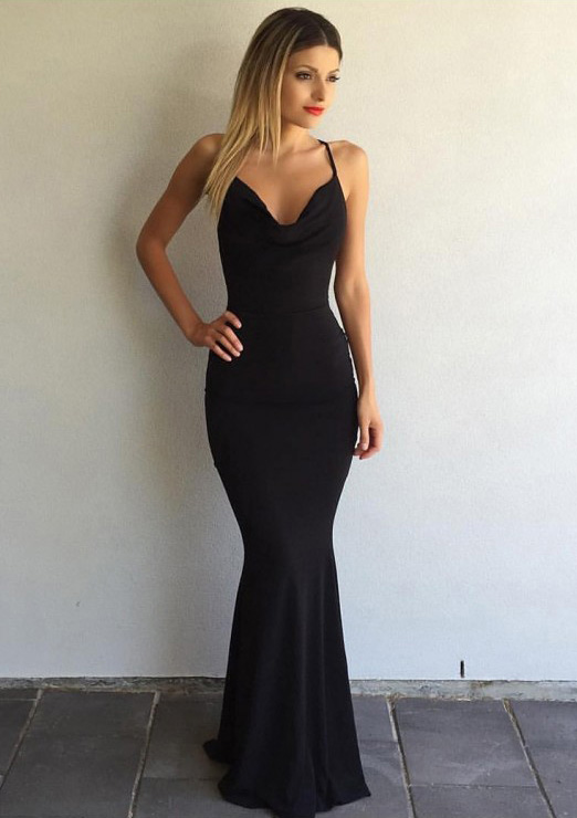 Trumpet/Mermaid Cowl Neck Sleeveless Sweep Train Jersey Prom Dress