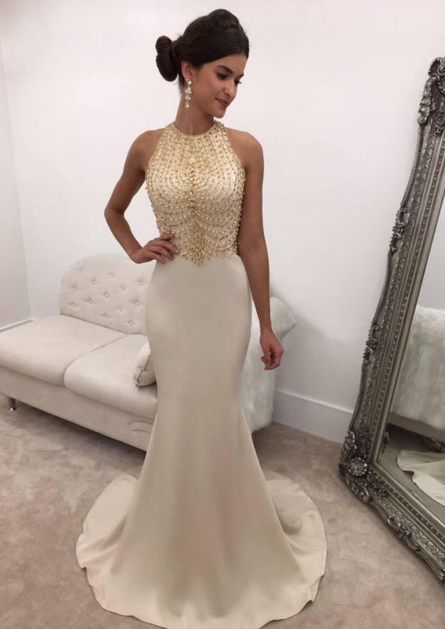 Sheath/Column Bateau Sleeveless Sweep Train Satin Prom Dress With Beading