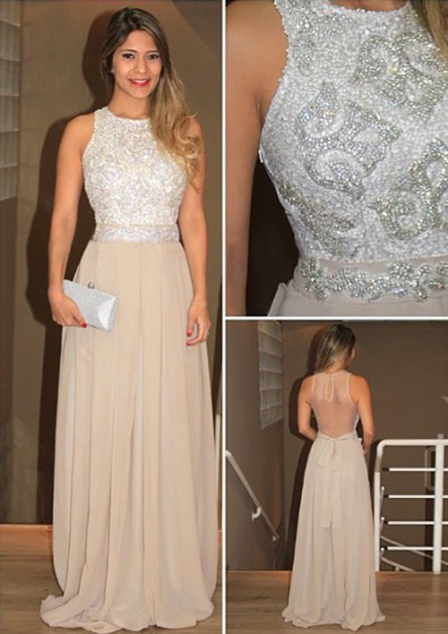 A-Line/Princess Scoop Neck Sleeveless Long/Floor-Length Chiffon Prom Dress With Rhinestone Beading