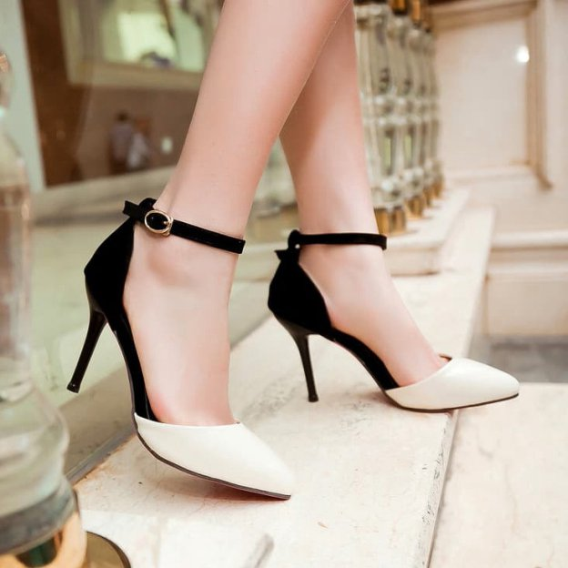 Close Toe Pumps Stiletto Heel Pu Shoes With Buckle