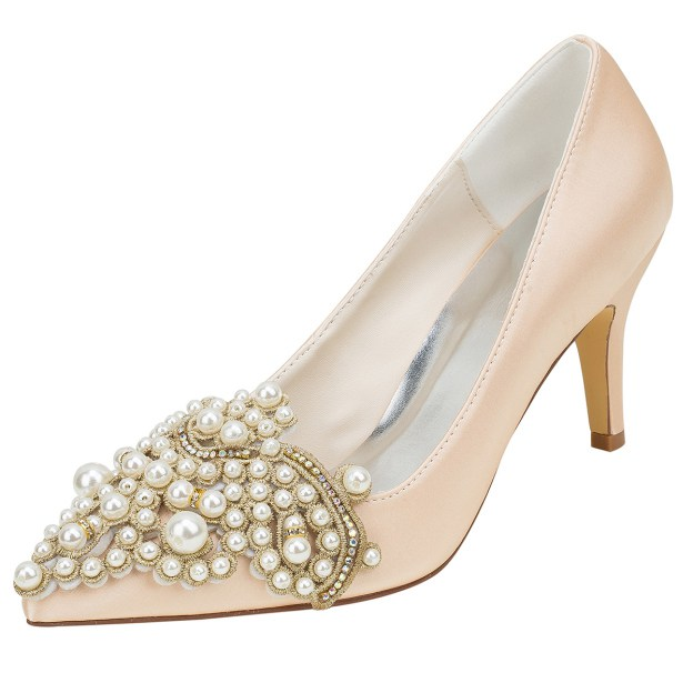Close Toe Pumps Wedding Shoes Stiletto Heel Satin Wedding Shoes With Imitation Pearl Rhinestone
