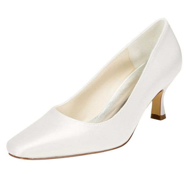 Close Toe Wedding Shoes Spool Heel Satin Wedding Shoes