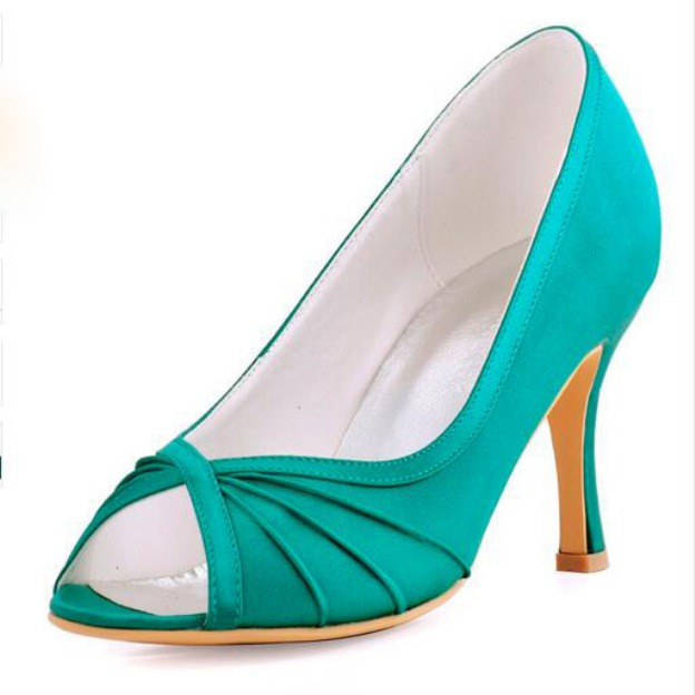 Peep Toe Pumps Spool Heel Satin Wedding Shoes With Pleated