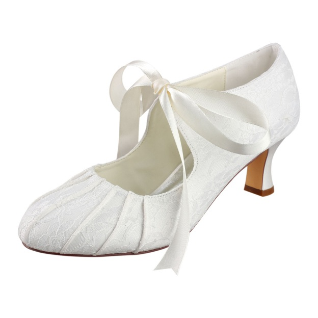 Close Toe Wedding Shoes Round Toe Spool Heel Lace Wedding Shoes With Pleated Ribbon Tie