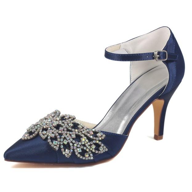 Close Toe Pumps Stiletto Heel Satin Wedding Shoes With Buckle Rhinestone