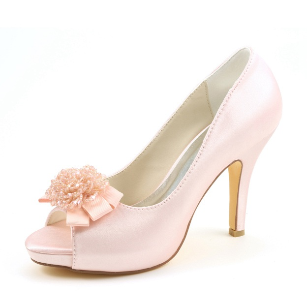 Peep Toe Platform Pumps Stiletto Heel Satin Wedding Shoes With Flowers