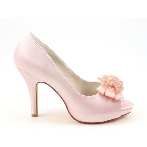 Peep Toe Platform Pumps Stiletto Heel Satin Wedding Shoes With Flowers