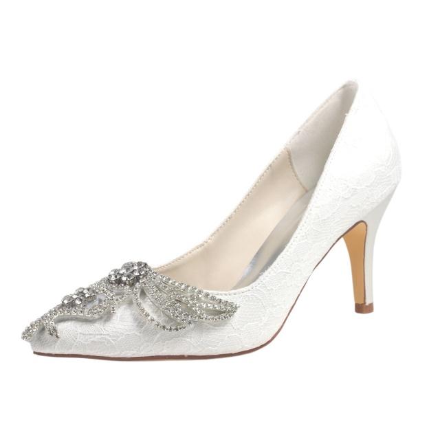 Close Toe Pumps Wedding Shoes Stiletto Heel Satin Wedding Shoes With Rhinestone