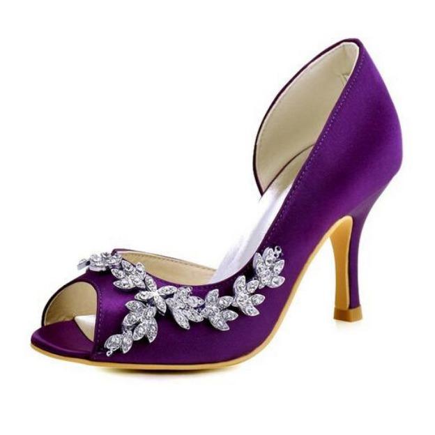Peep Toe Pumps Spool Heel Satin Wedding Shoes With Rhinestone