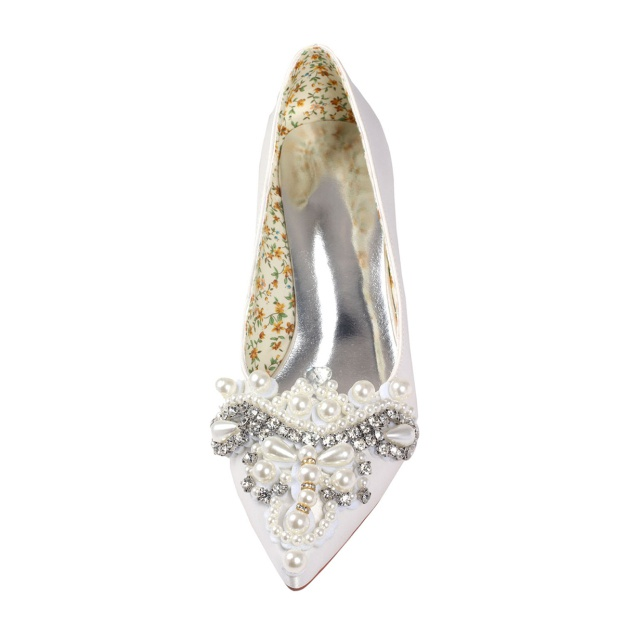 Close Toe Wedding Shoes Kitten Heel Satin Wedding Shoes With Imitation Pearl Rhinestone