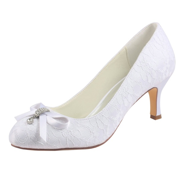 Close Toe Wedding Shoes Round Toe Spool Heel Lace Wedding Shoes With Ribbon Tie