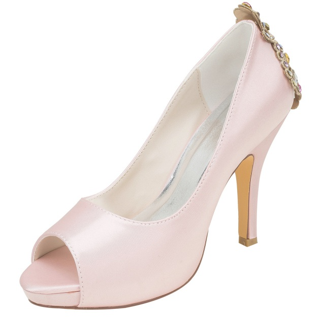 Peep Toe Platform Pumps Stiletto Heel Satin Wedding Shoes With Crystal