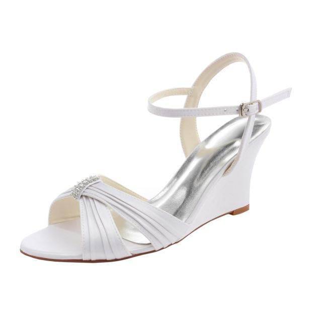 Sandals Wedges Wedding Shoes Wedge Heel Satin Wedding Shoes With Buckle Pleated Rhinestone