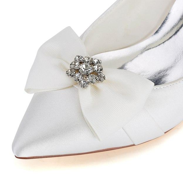Close Toe Wedding Shoes Kitten Heel Satin Wedding Shoes With Bowknot Rhinestone