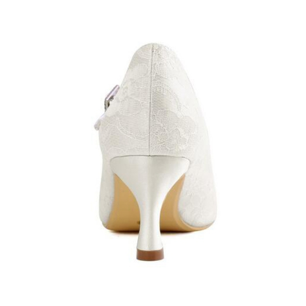 Close Toe Round Toe Spool Heel Lace Wedding Shoes With Buckle Rhinestone