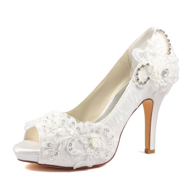 Pumps Platform Peep Toe Stiletto Heel Lace Wedding Shoes With Sequins Appliqued Imitation Pearl