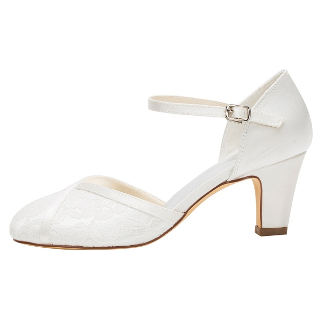 Close Toe Wedding Shoes Round Toe Chunky Heel Satin Wedding Shoes With Buckle Lace