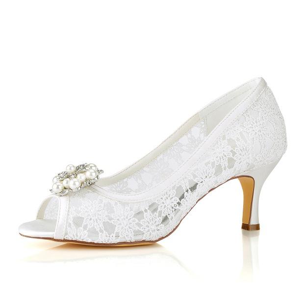Peep Toe Wedding Shoes Spool Heel Lace Wedding Shoes With Imitation Pearl Lace Rhinestone