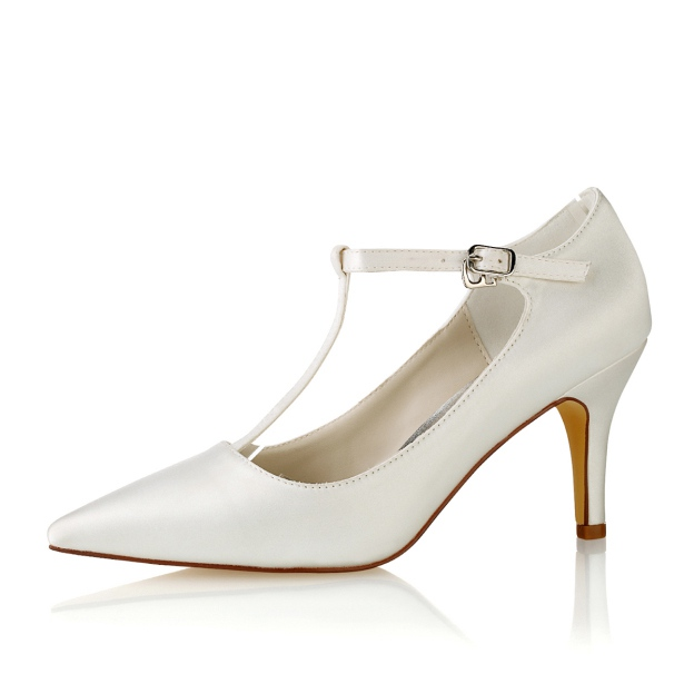 Close Toe Pumps Wedding Shoes Stiletto Heel Satin Wedding Shoes With Buckle