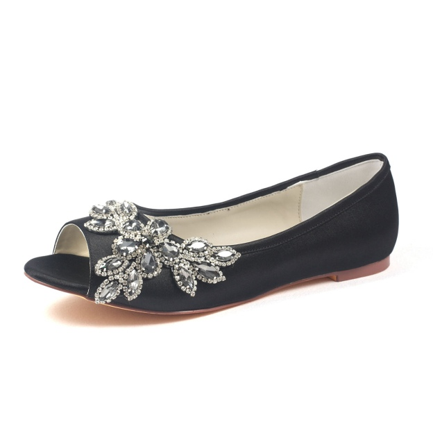 Flats Peep Toe Flat Heel Satin Wedding Shoes With Crystal Rhinestone
