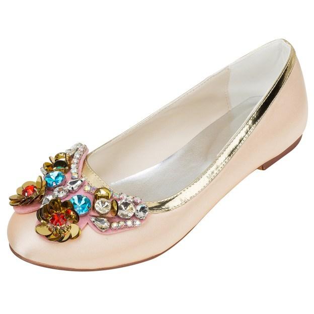 Close Toe Wedding Shoes Round Toe Flat Heel Satin Wedding Shoes With Rhinestone Sequins