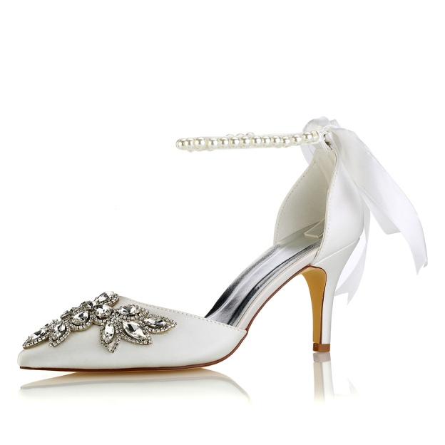 Close Toe Pumps Stiletto Heel Satin Wedding Shoes With Crystal Imitation Pearl Rhinestone